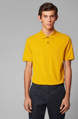 Polo Regular Fit en piqué fin, Jaune