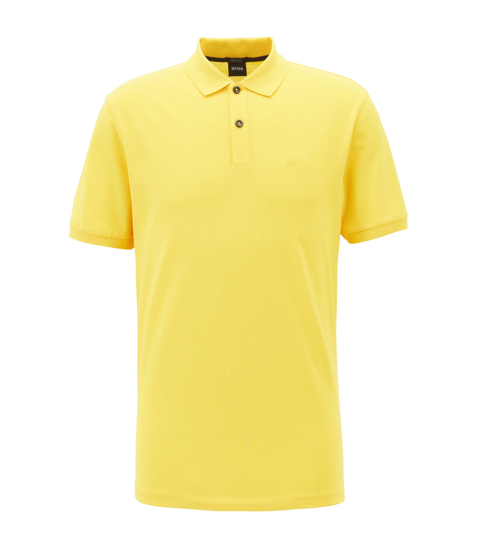 Regular-fit polo shirt in fine piqué, Light Yellow