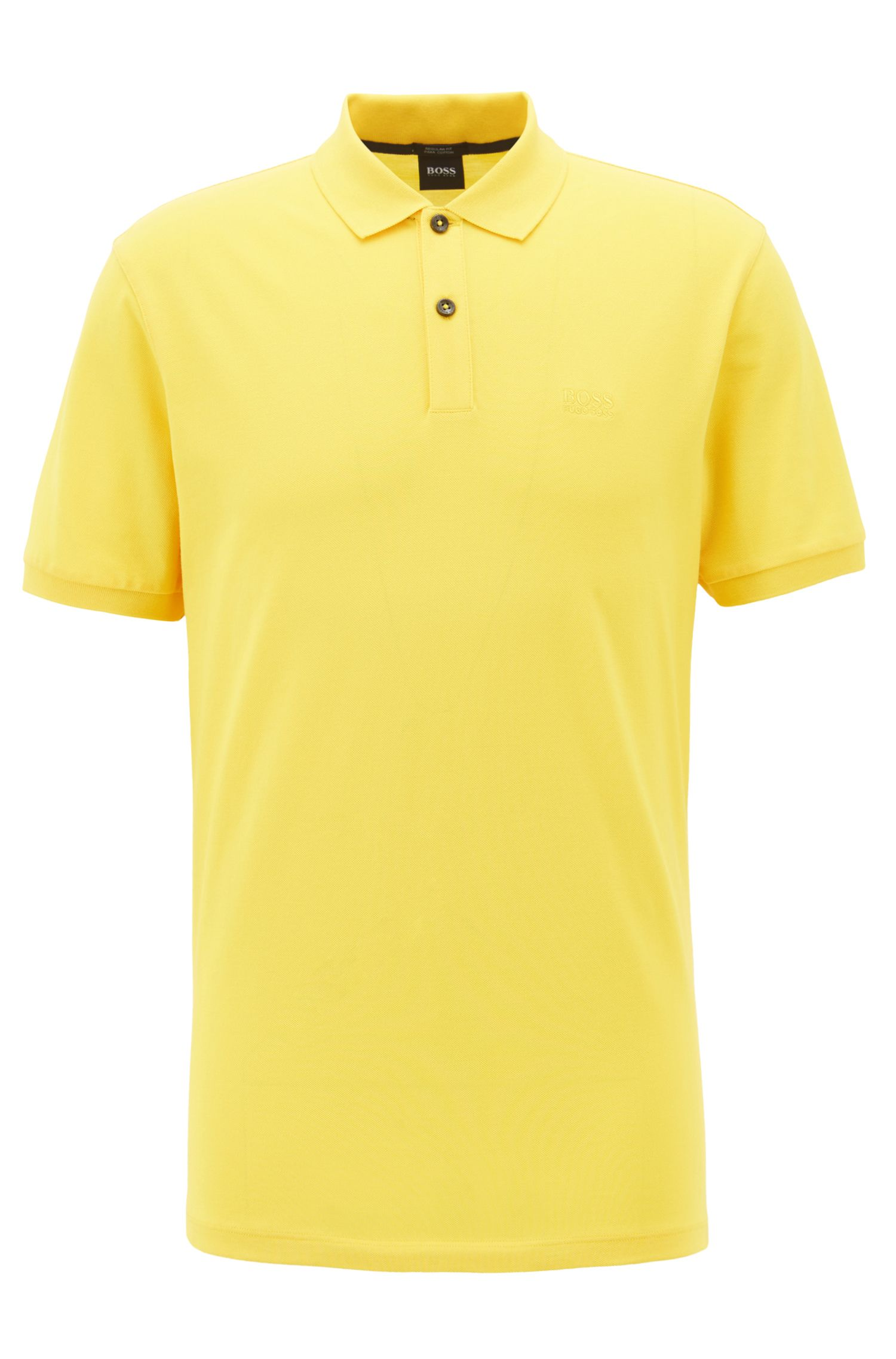 Polo regular fit en piqué fino, Amarillo claro