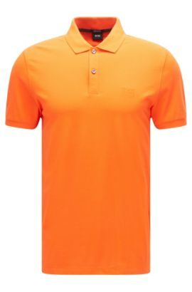 Regular-fit polo shirt in fine piqué, Dark Orange