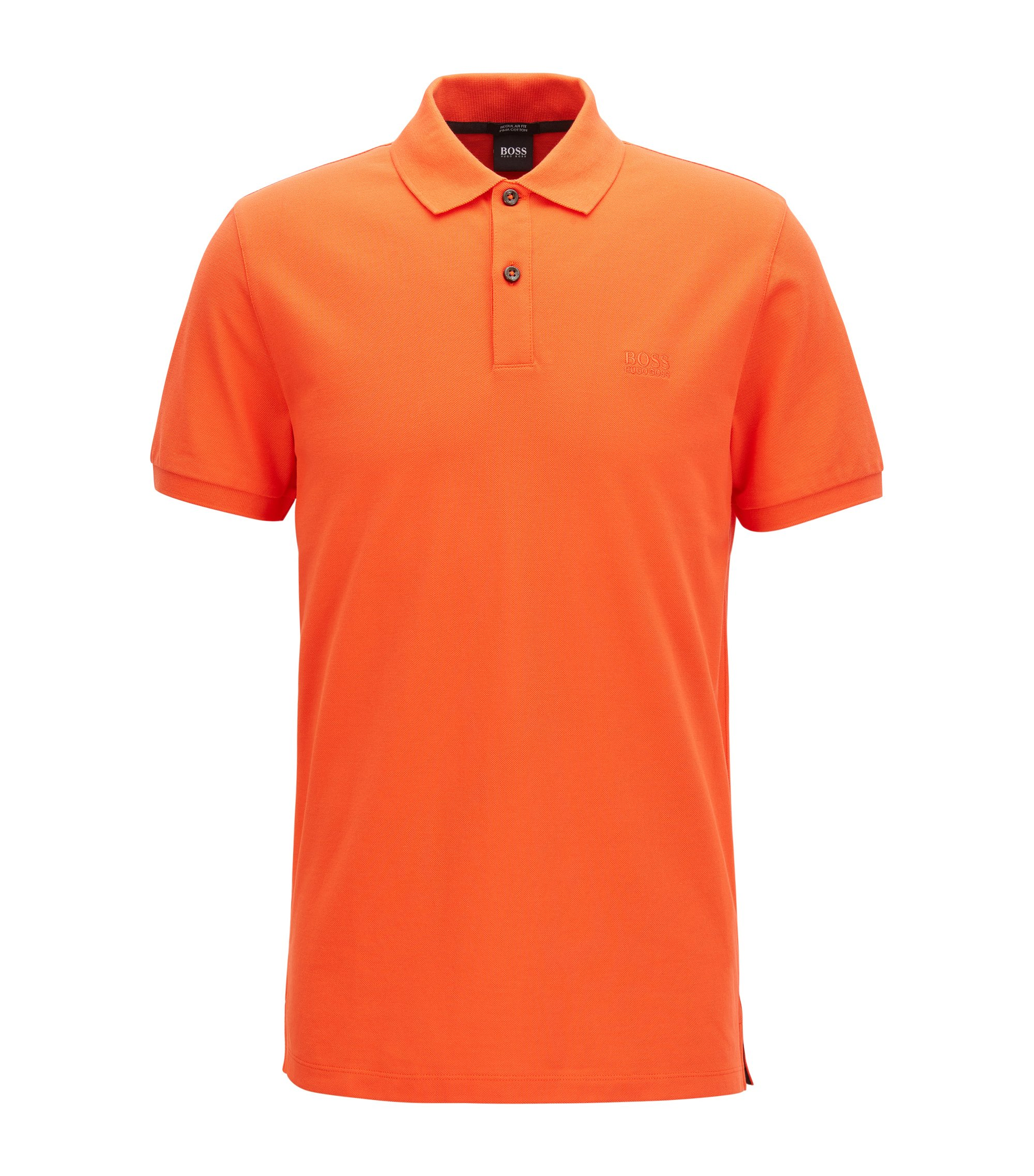 Regular-fit polo shirt in fine piqué, Orange