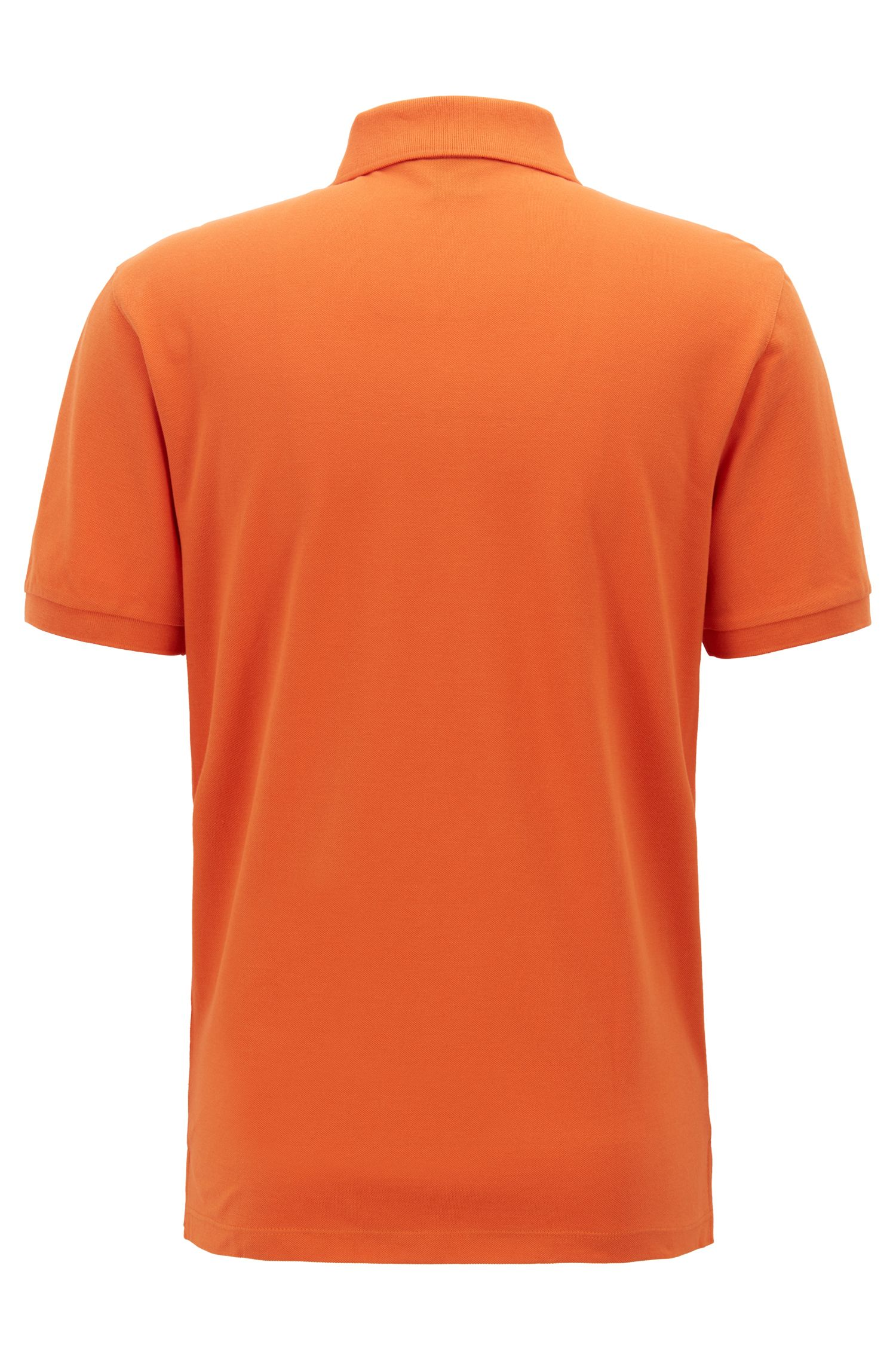 Polo regular fit en piqué fino, Naranja