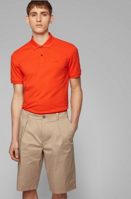 Regular-Fit Poloshirt aus feinem Piqué, Orange