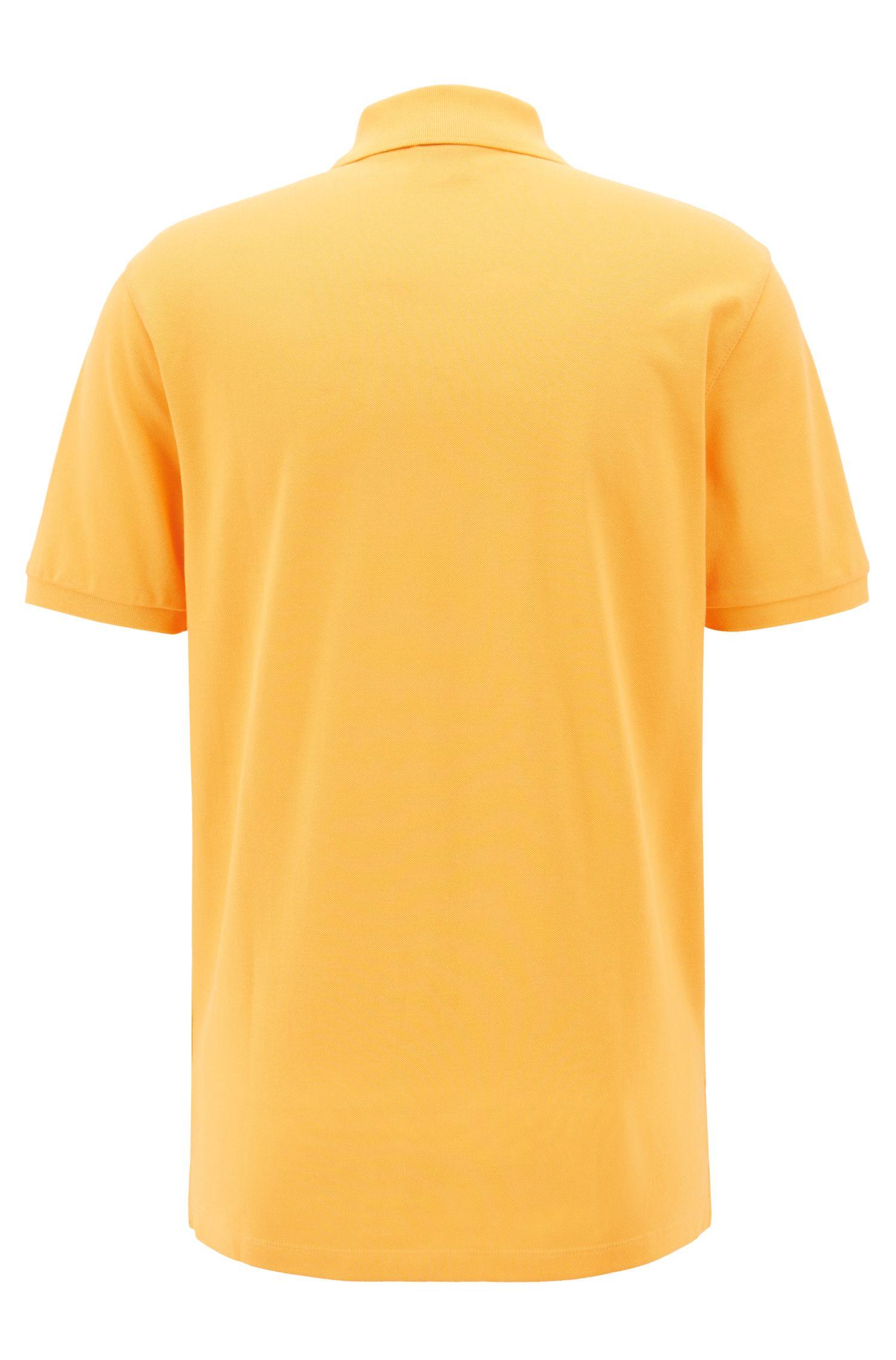 Regular-fit polo shirt in fine piqué, Light Orange