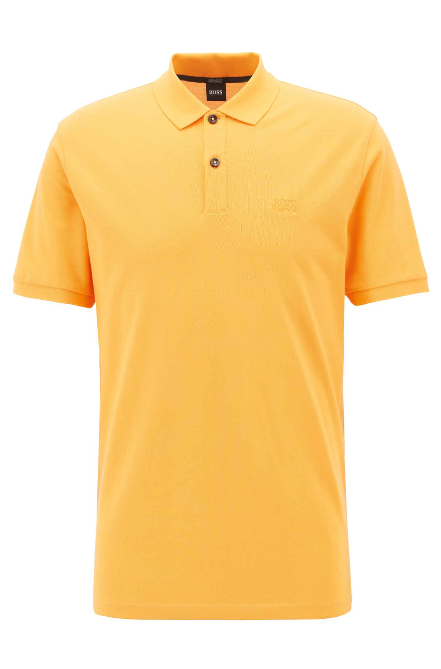 Regular-fit polo shirt in fine piqué, Light Orange