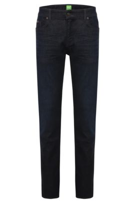 Slim-fit jeans in stretch cotton blend: 'C-Delaware1', Dark Blue