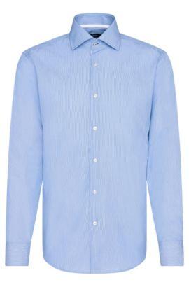 Gestreiftes Regular-Fit Hemd aus bügelleichter Baumwolle: 'Gregory', Blau
