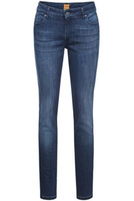 Slim-fit jeans van stretchkatoen: 'Orange J20', Donkerblauw