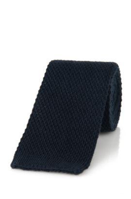 Cravate en coton: «Tie 5cm knitted», Bleu foncé
