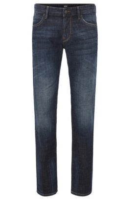 Regular-fit jeans with vintage finish, Dark Blue