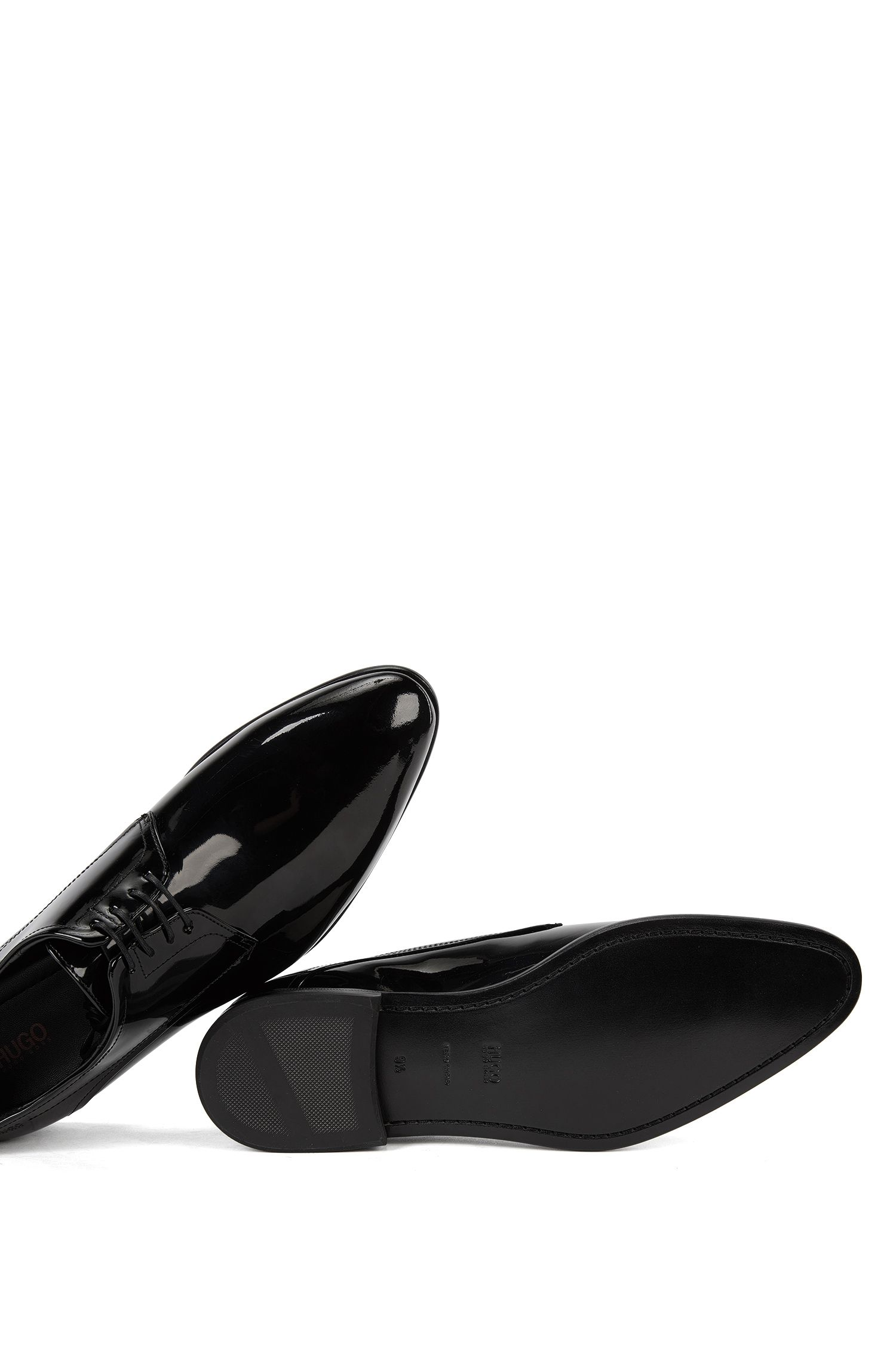 Patent leather Derby shoes by HUGO Man, Black