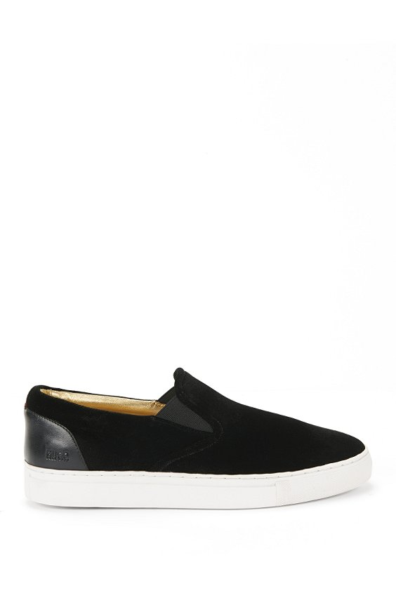 Laceless trainers in velvet with leather trim: 'Fuvel', Black