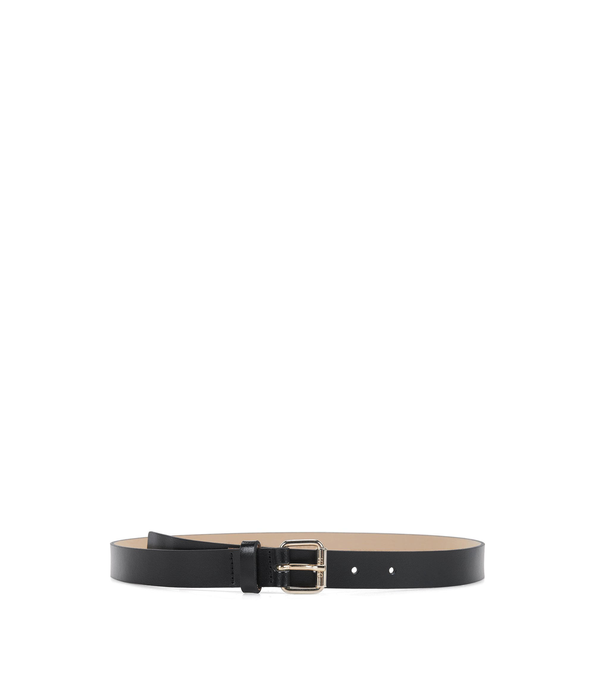 Italian-made belt in smooth leather, Black