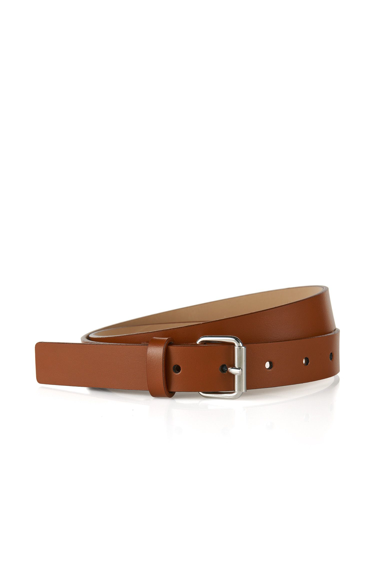 Italian-made belt in smooth leather, Light Brown