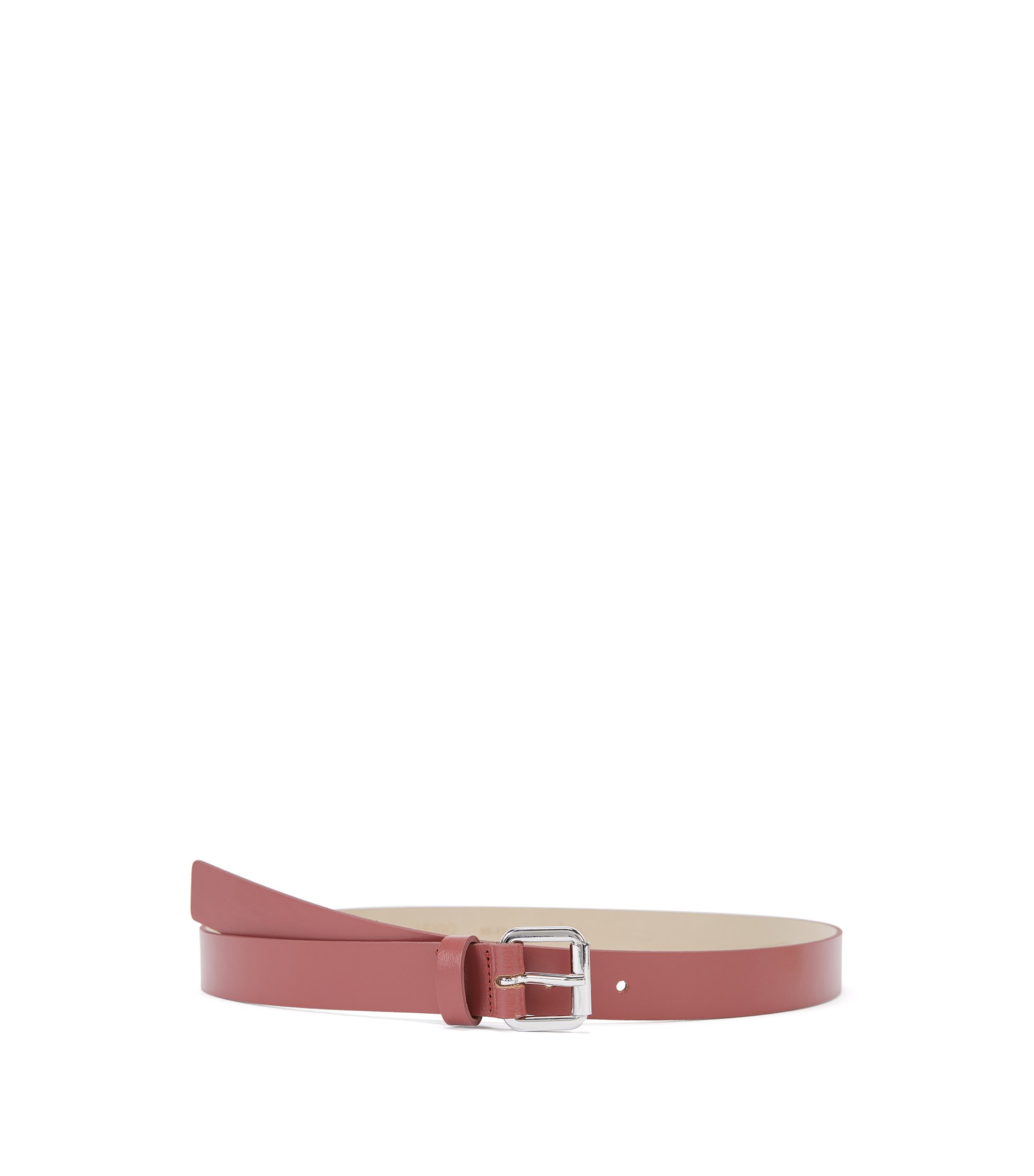 Italian-made belt in smooth leather, Open Brown