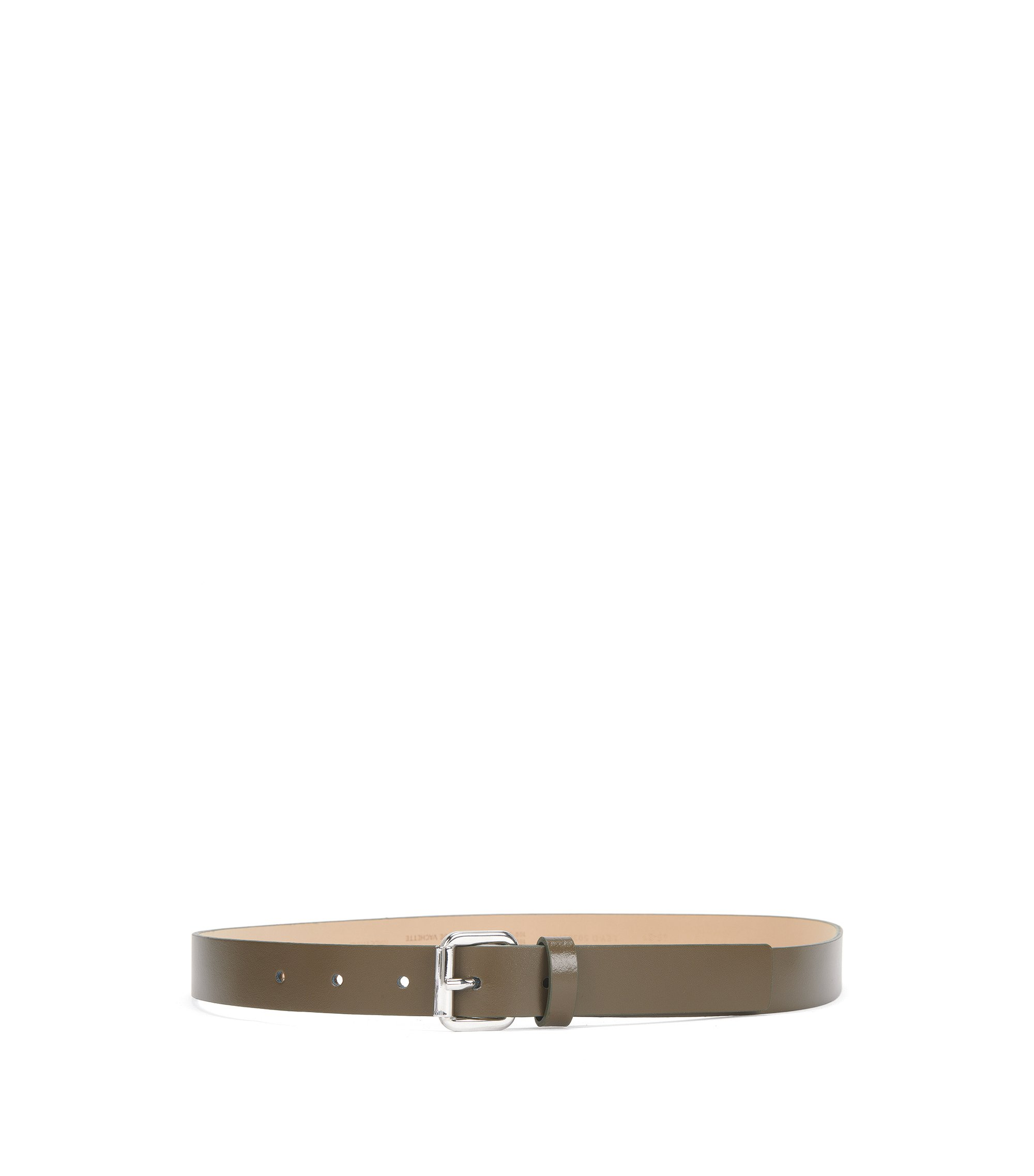 Italian-made belt in smooth leather, Khaki