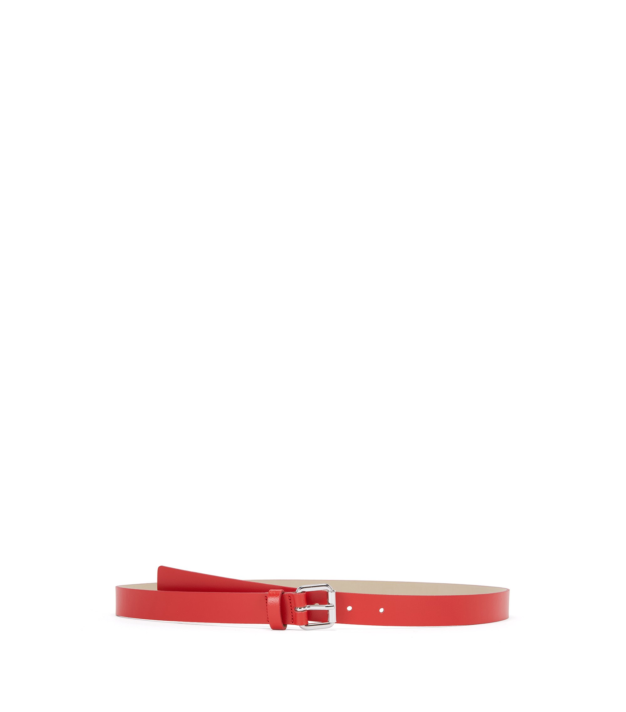 Italian-made belt in smooth leather, Red
