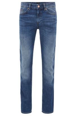 Slim-fit jeans in stretch cotton blend: 'C-Delaware1', Blue