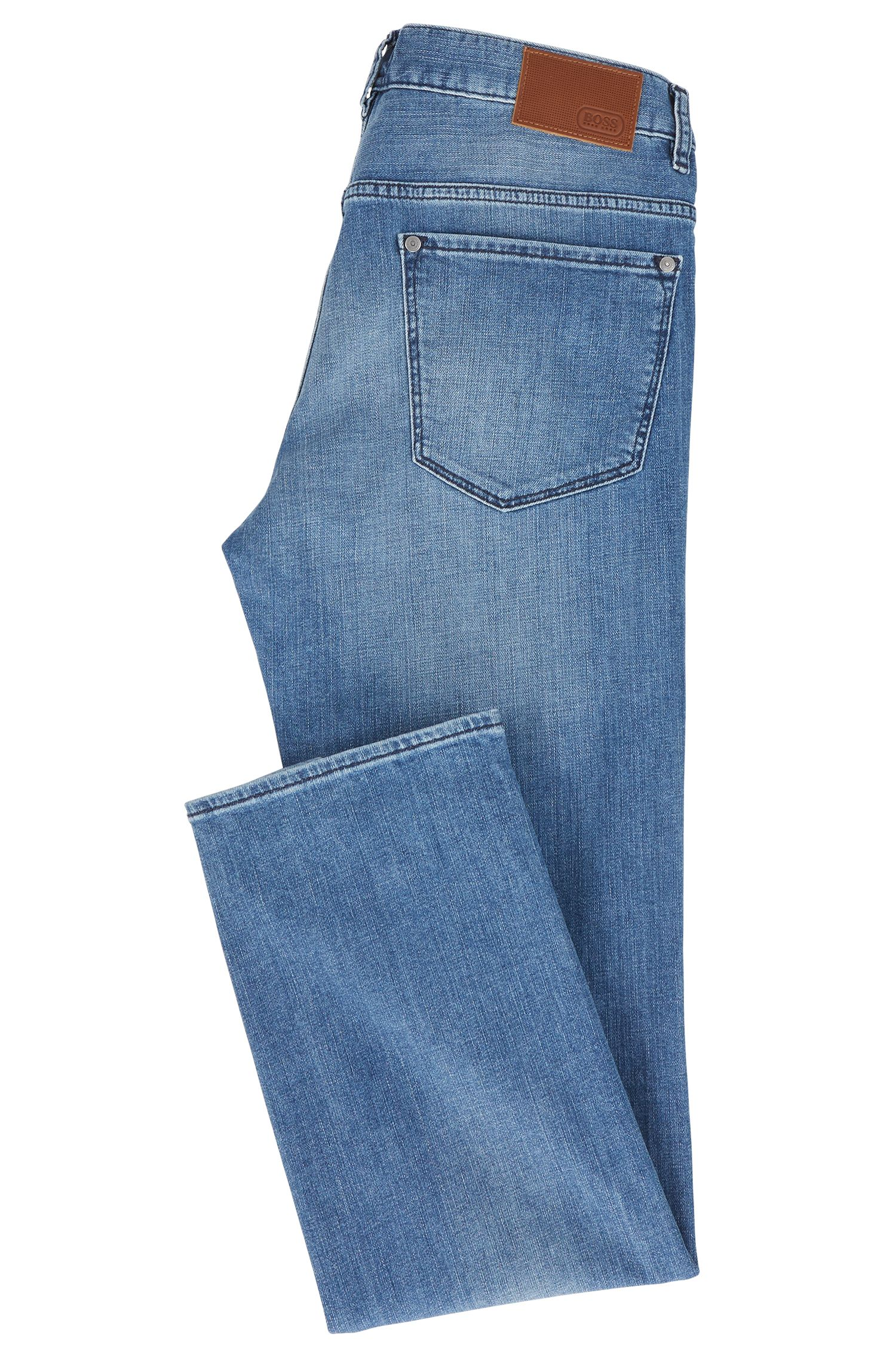 Jeans regular fit in denim elasticizzato con finiture usate