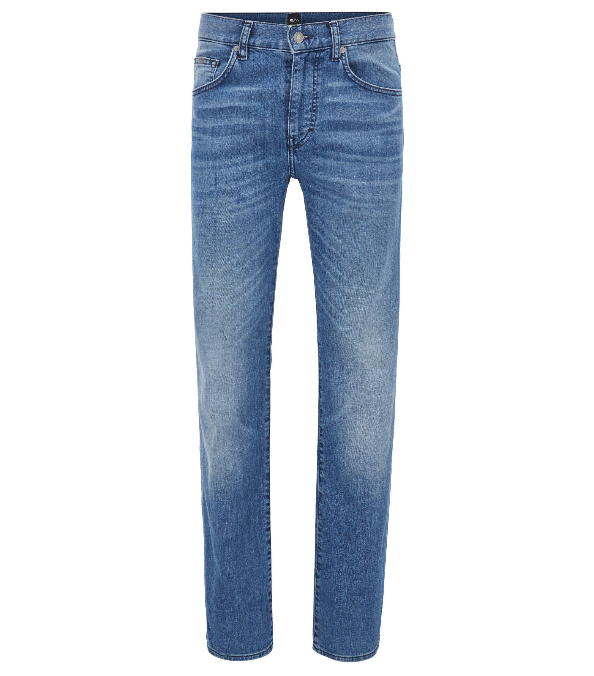 Regular-Fit Jeans aus Stretch-Baumwolle mit Used-Optik, Blau