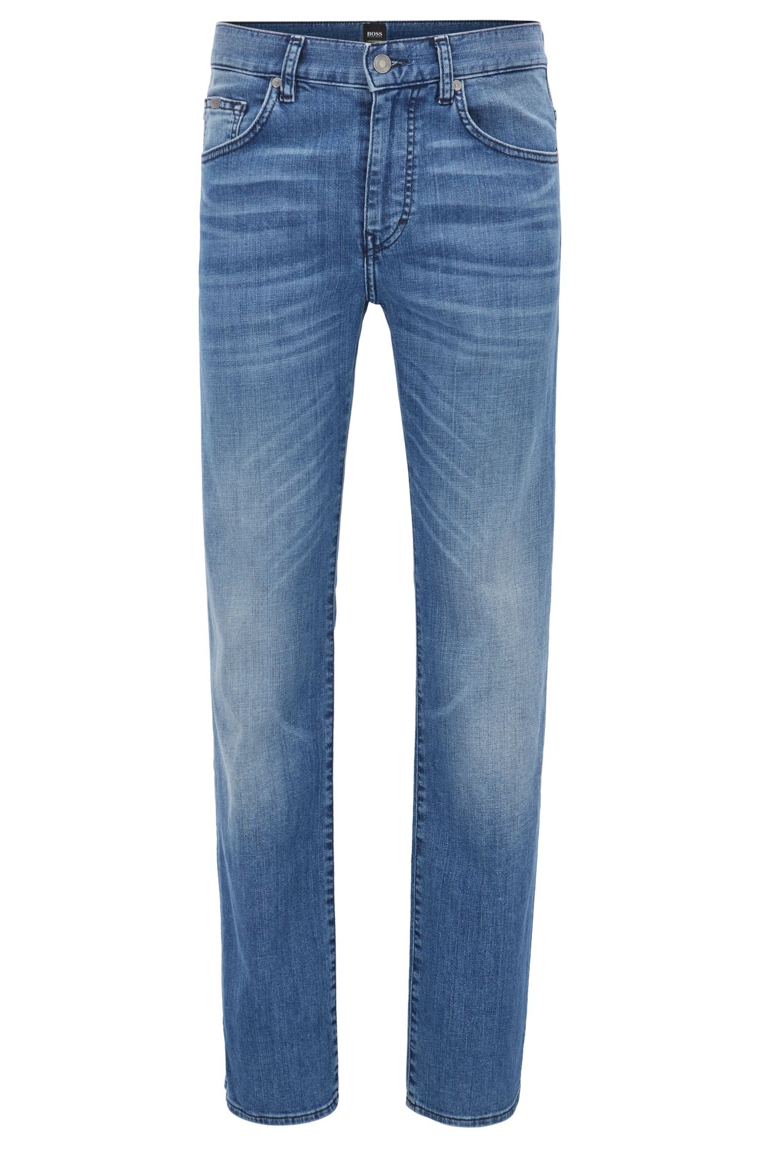 Regular-Fit Jeans aus Stretch-Baumwolle mit Used-Optik