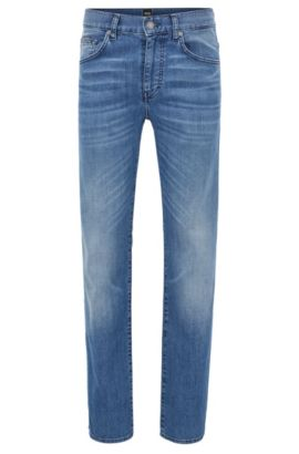 Regular-fit jeans van stretchdenim met used-finish, Blauw