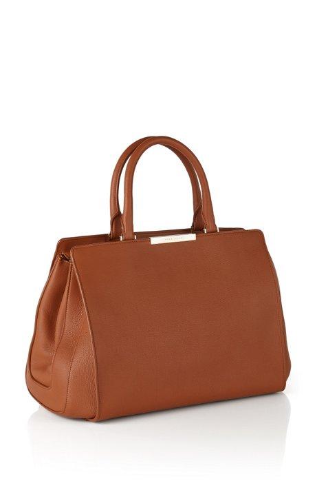 Leather Handbag Berlin T Handle M Brown