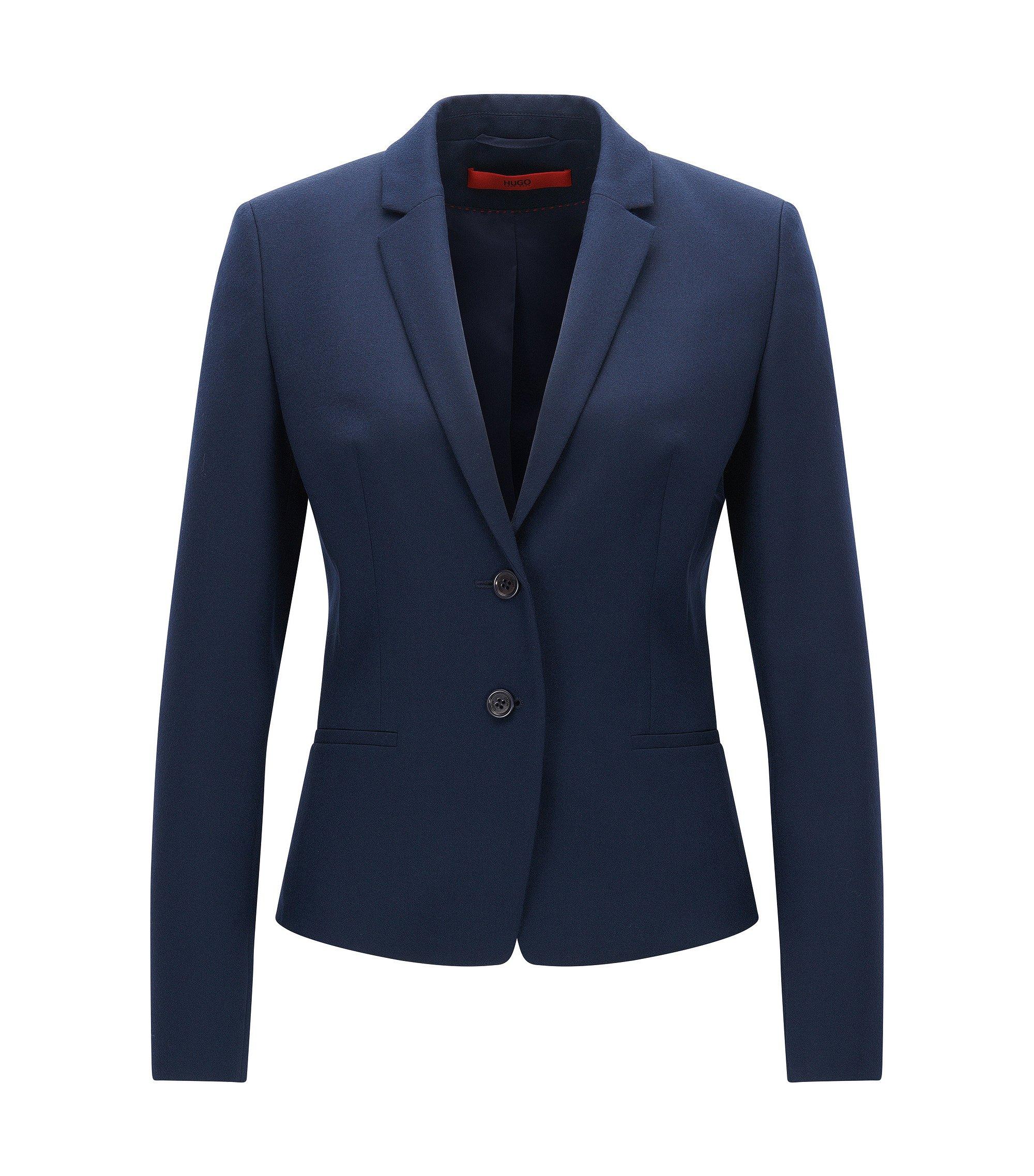 Veste Regular Fit en laine vierge stretch, Bleu foncé