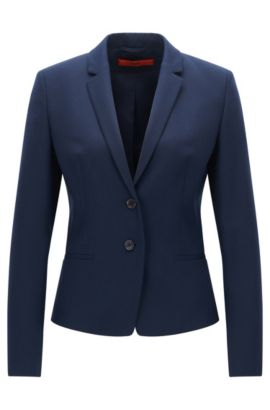 Regular-fit jacket in stretch virgin wool, Bleu foncé