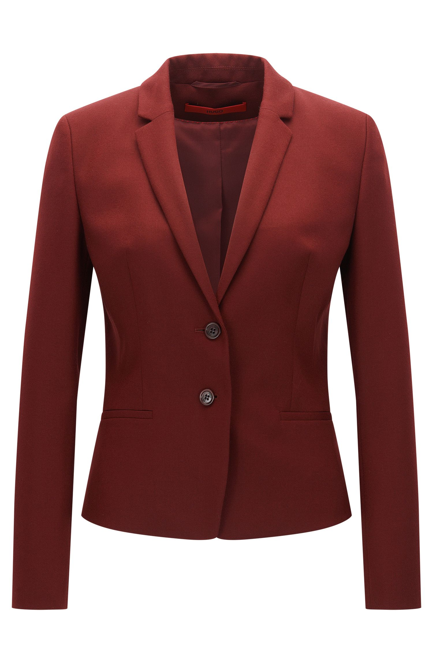 Regular-fit jacket in stretch virgin wool