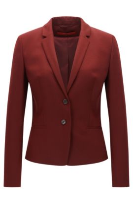Regular-fit jacket in stretch virgin wool, Rouge sombre
