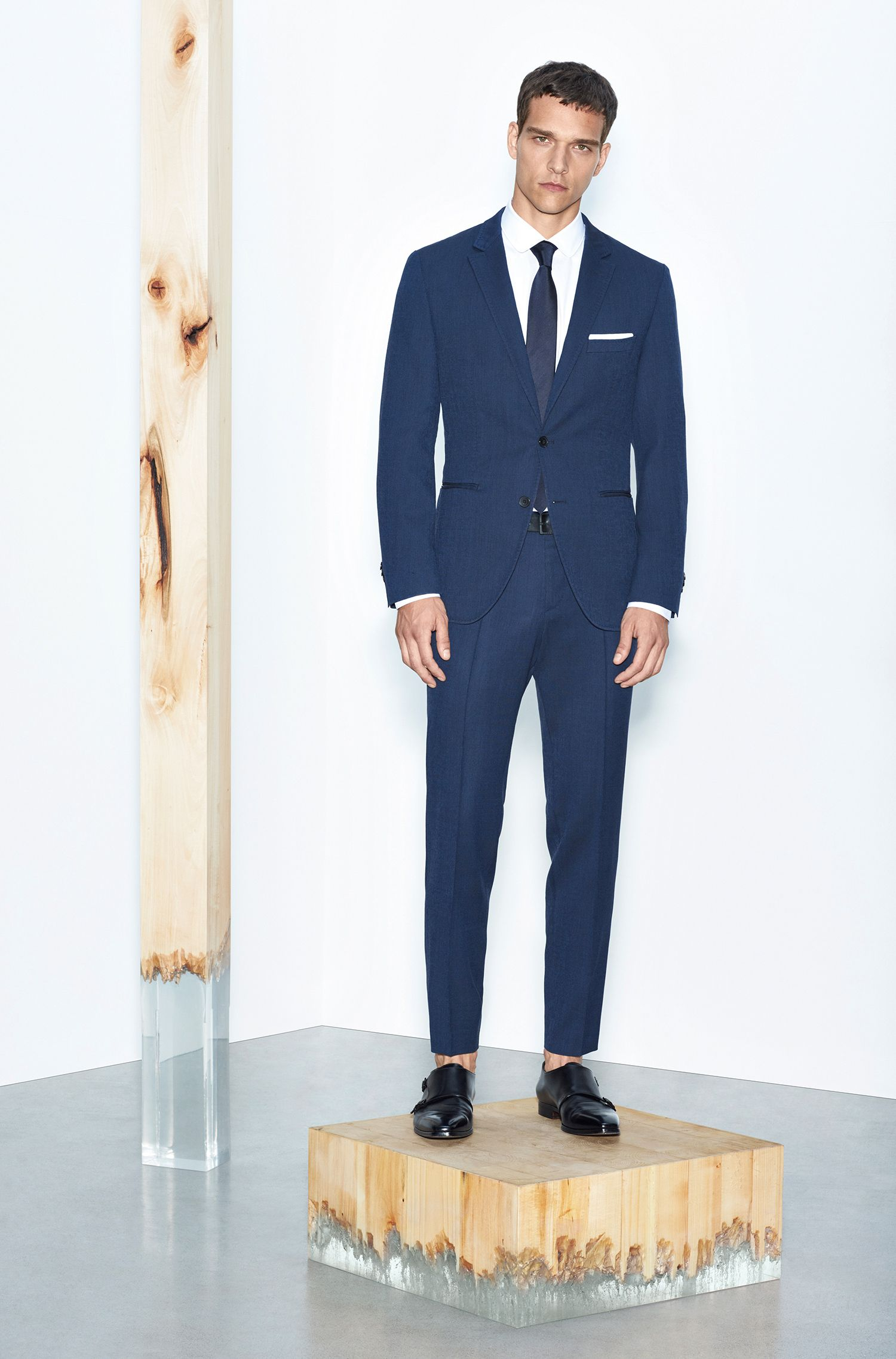 Unifarbene Krawatte aus Seide: 'Tie 6 cm', Dunkelblau