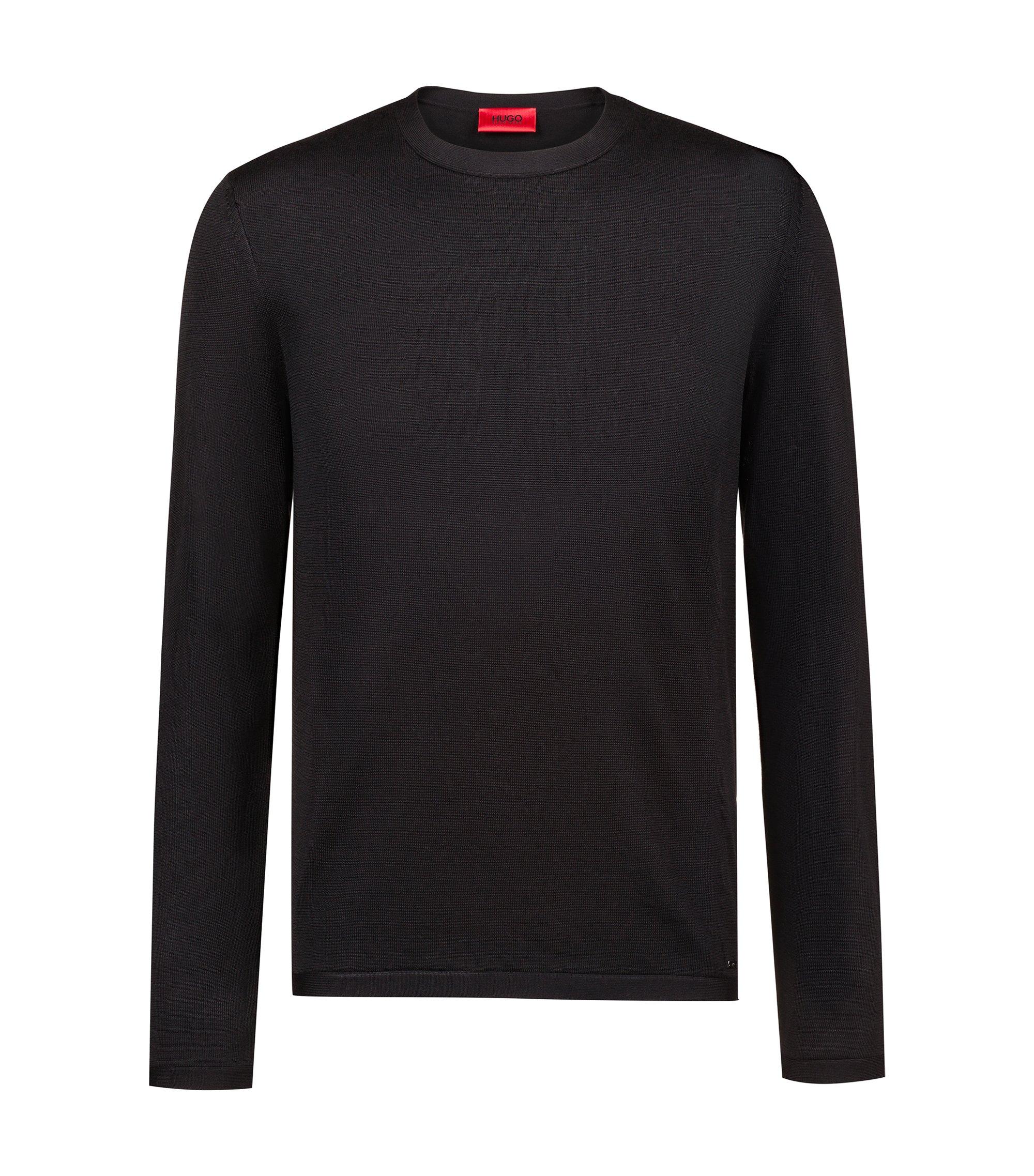 Pullover aus Material-Mix mit Seide und Kaschmir, Schwarz