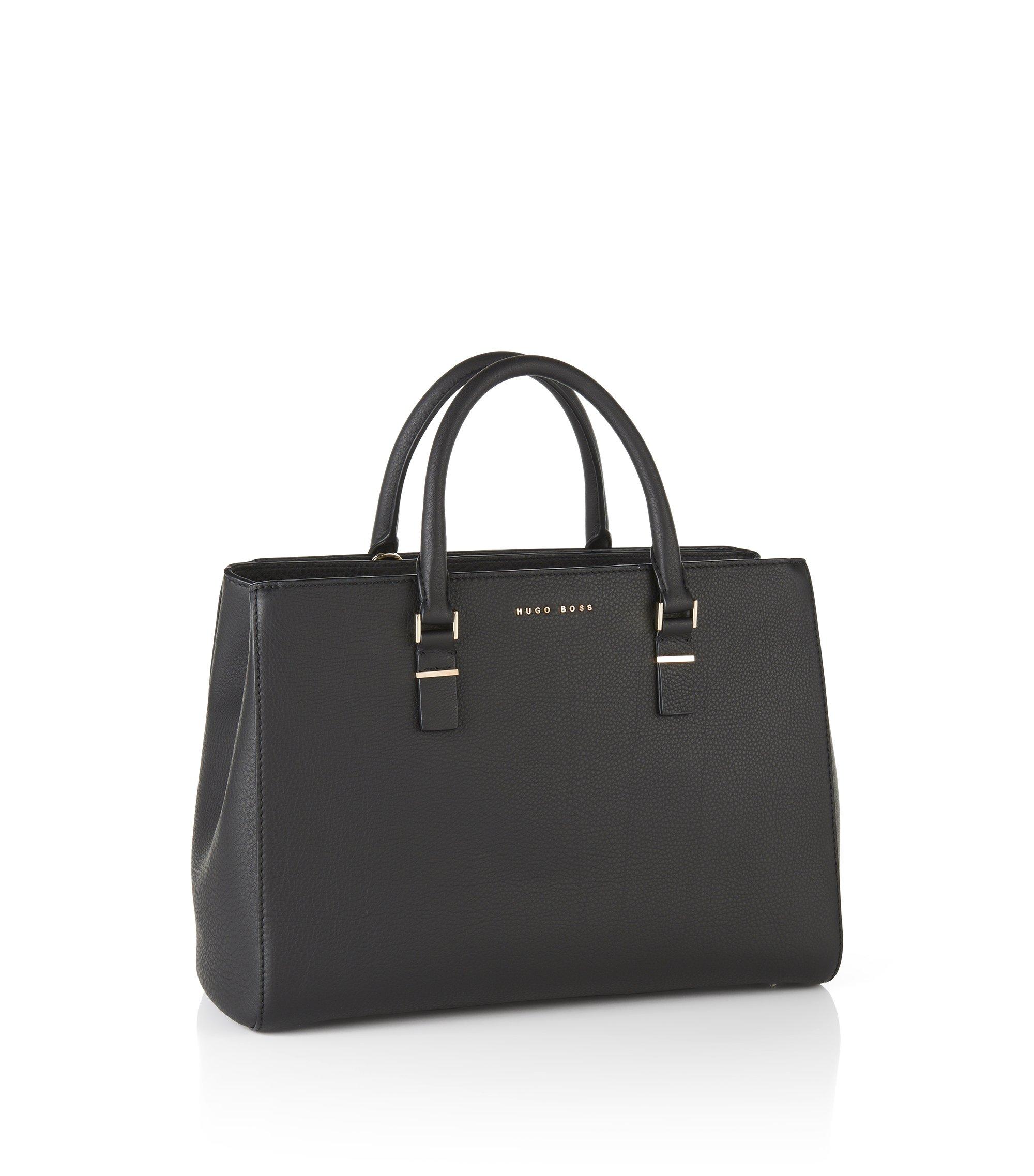 Shopper aus geprägtem Leder: 'Luxury Staple T. M-C', Schwarz