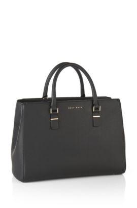 Shopper van gestructureerd leer: 'Luxury Staple T. M-C', Zwart