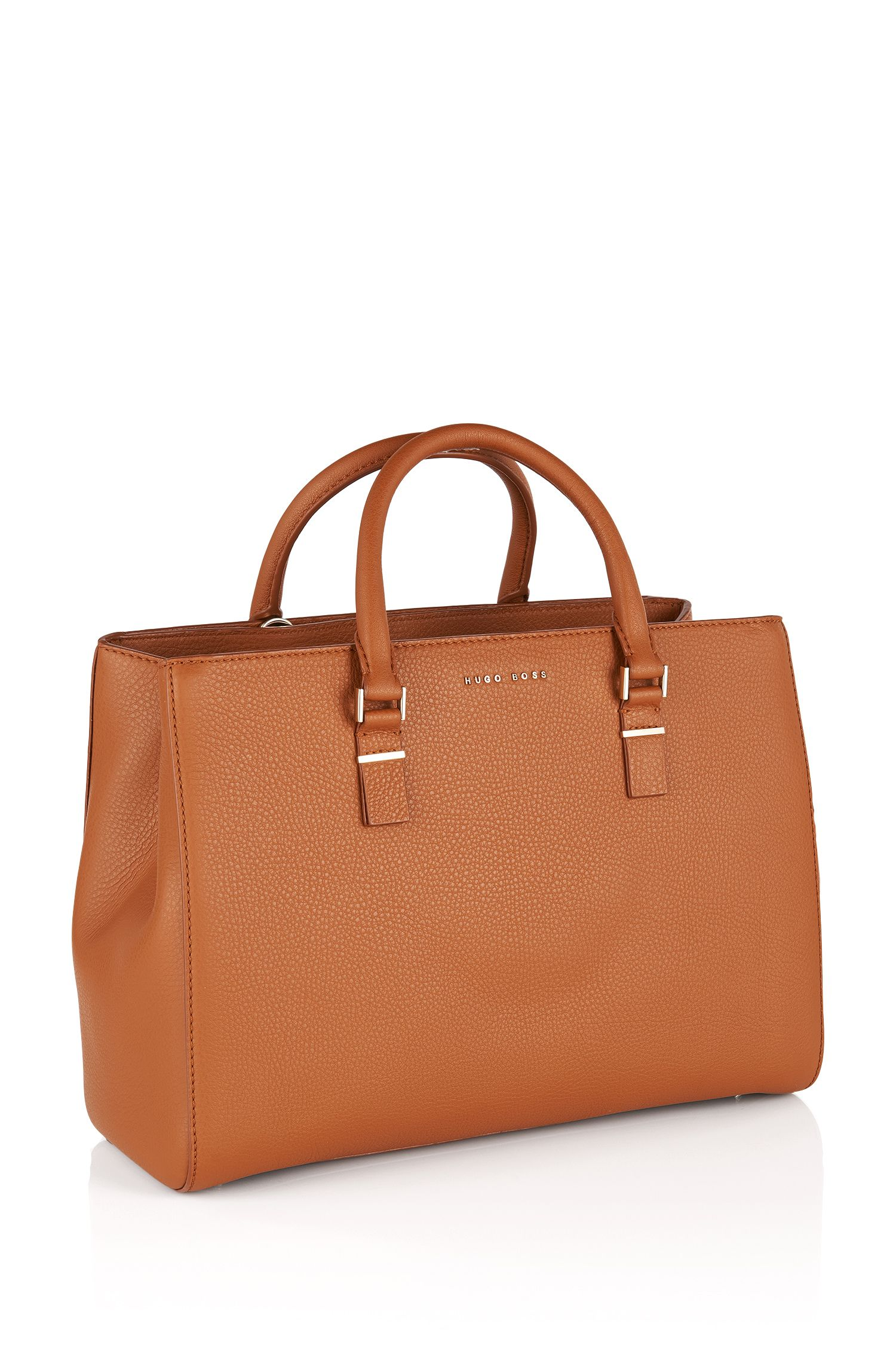 Embossed leather shopper: 'Luxury Staple T. M-C', Brown