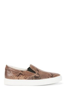 Loafers in leather with python print: 'Cleah-S', Open Beige
