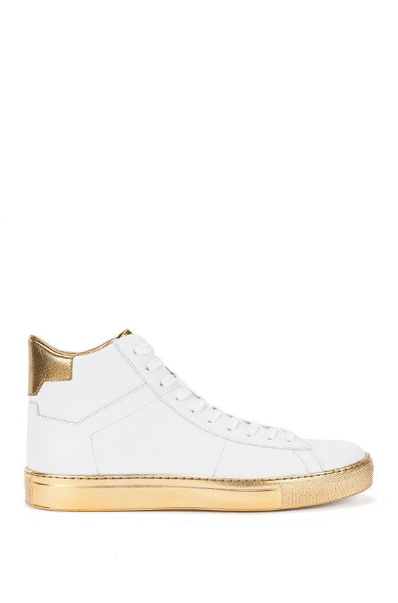 Leather trainers with metallic detailing: 'Aristoc', White