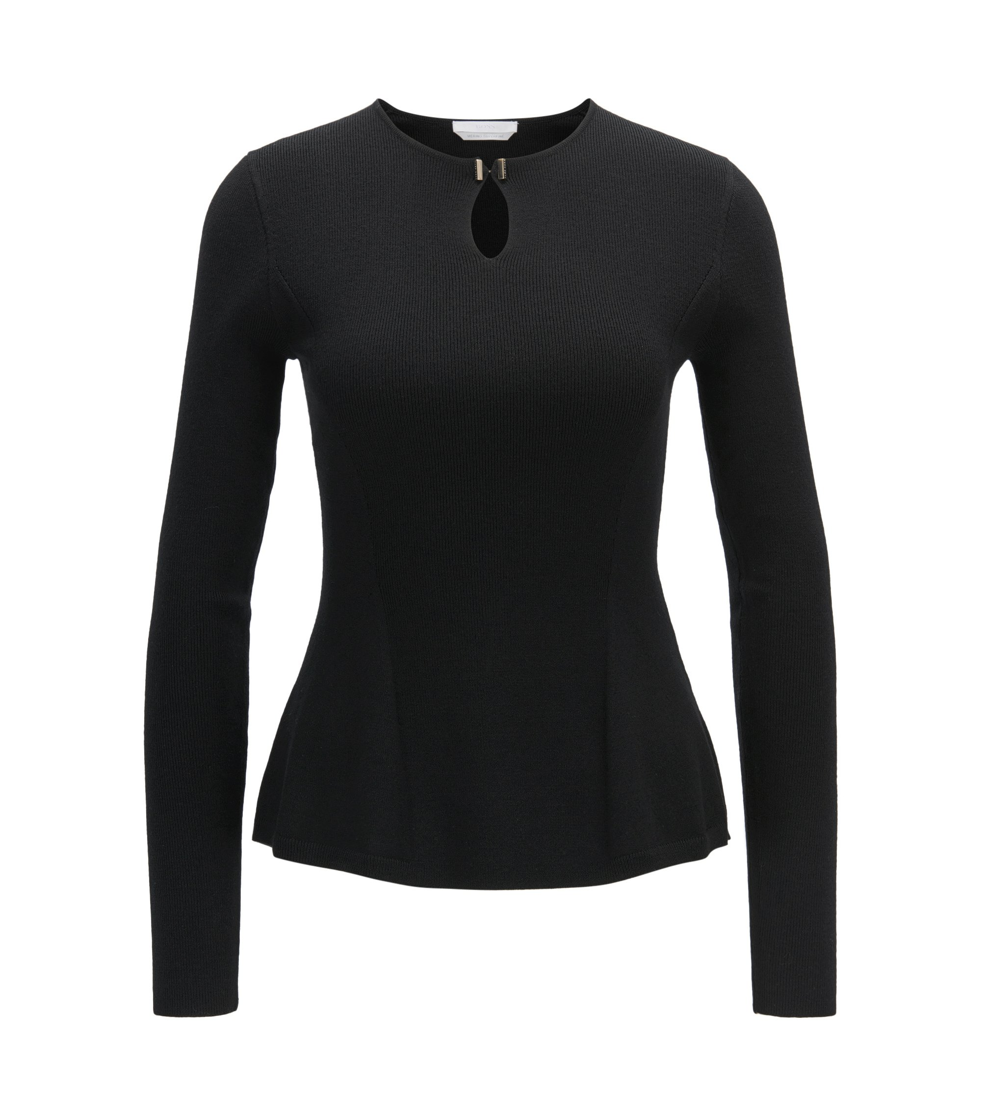 Peplum top in a mercerised virgin wool blend, Black