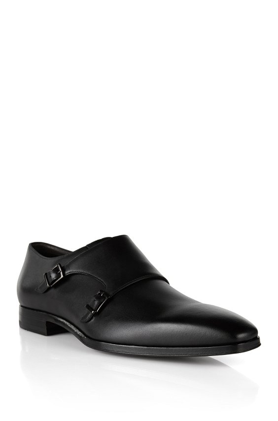 Double monk shoes in leather: 'T-Exmok', Black