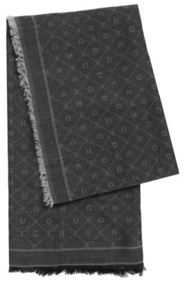Jacquard scarf with tonal logo pattern, Black