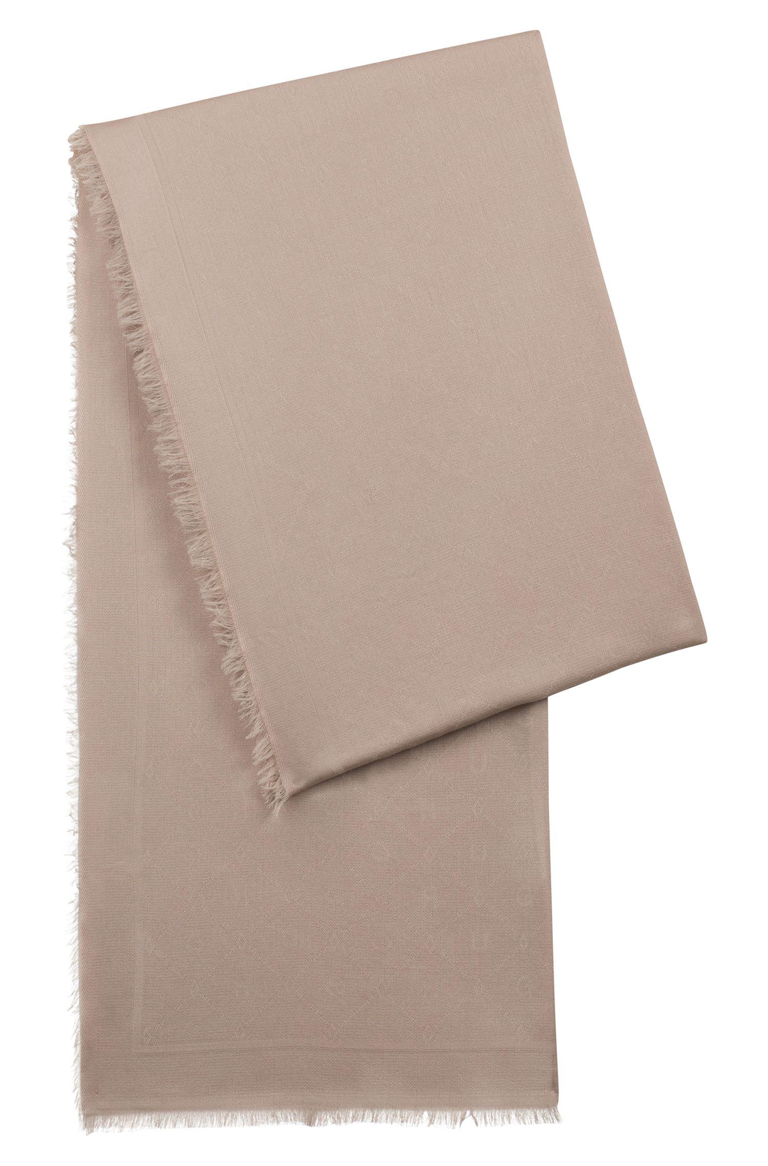 Sciarpa jacquard con motivo con logo tono su tono, Marrone chiaro
