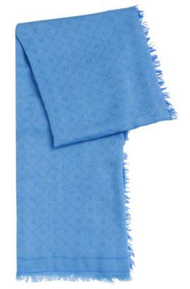 Écharpe jacquard au motif logo ton sur ton, Bleu vif