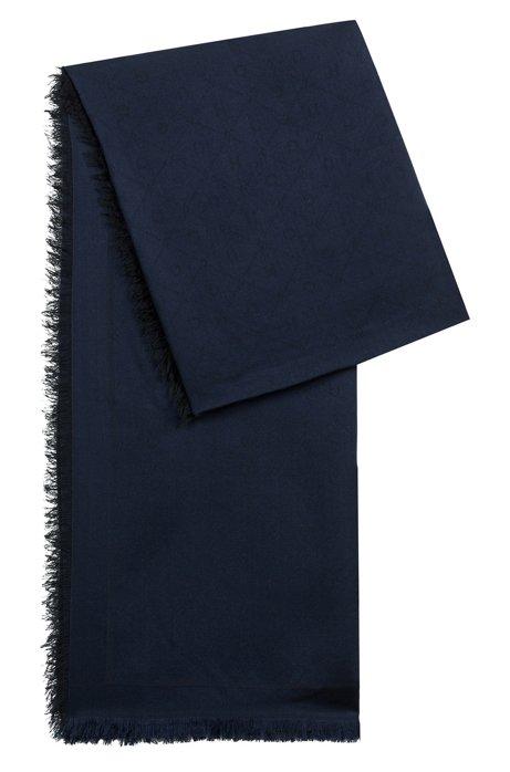 Jacquard scarf with tonal logo pattern, Dark Blue