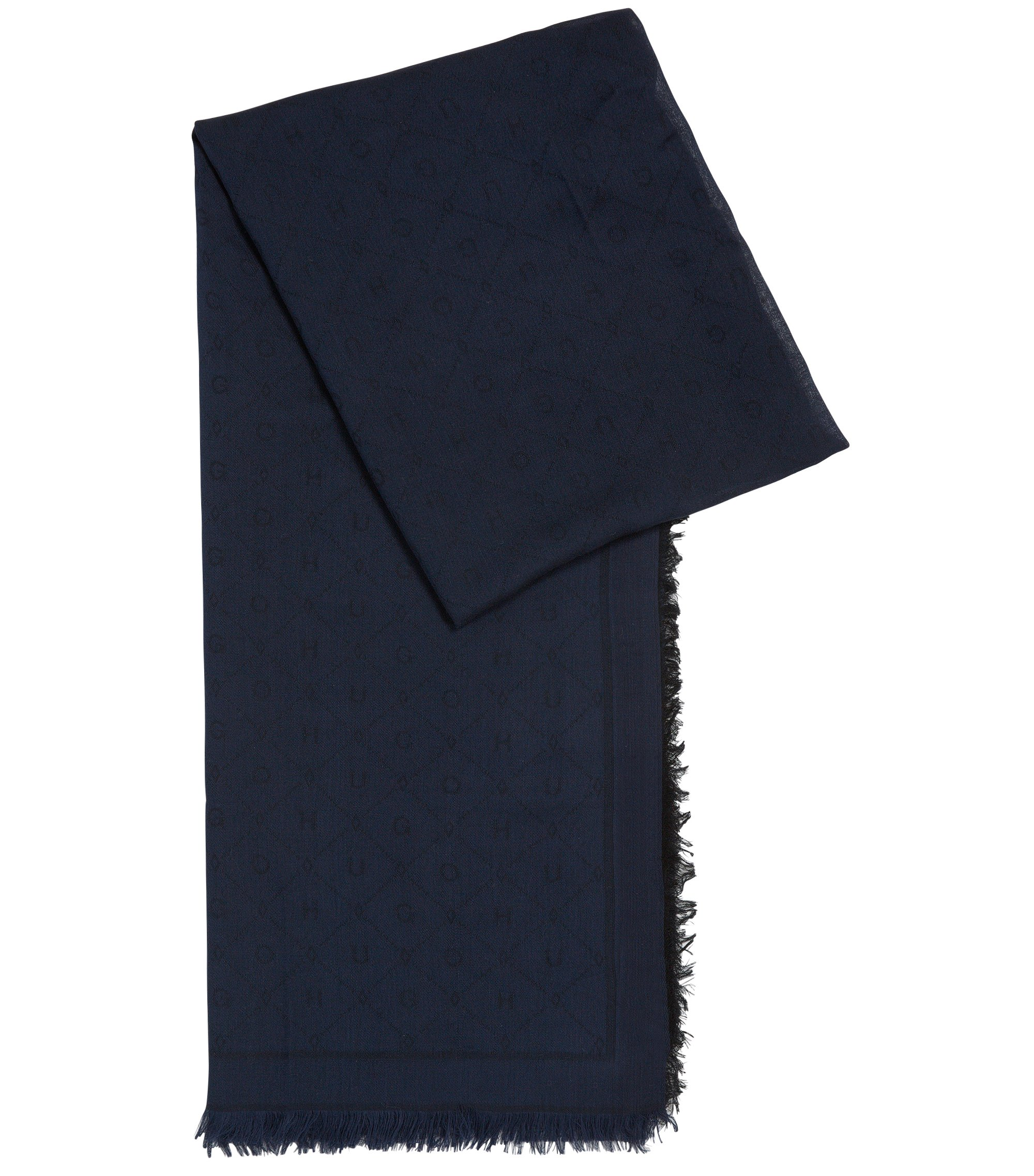 Jacquard scarf with tonal logo pattern, Dark Blue