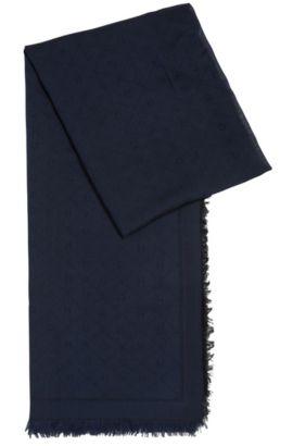 Jacquard-Schal mit Ton in Ton gehaltenem Logo-Muster, Dunkelblau