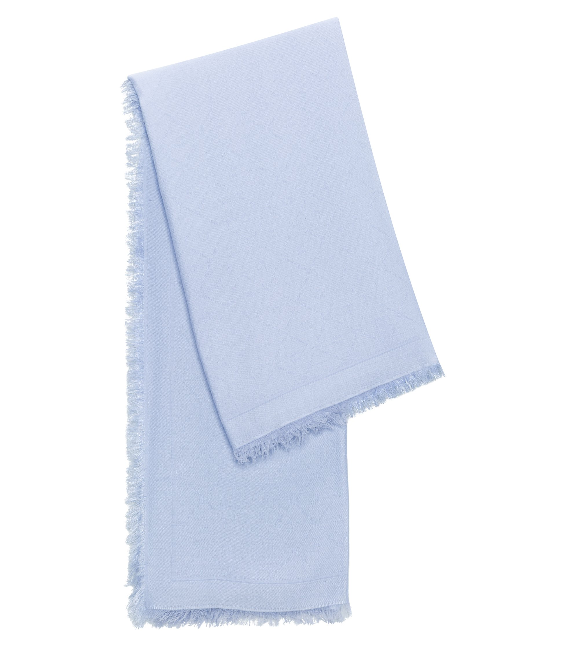 Jacquard scarf with tonal logo pattern, Light Blue