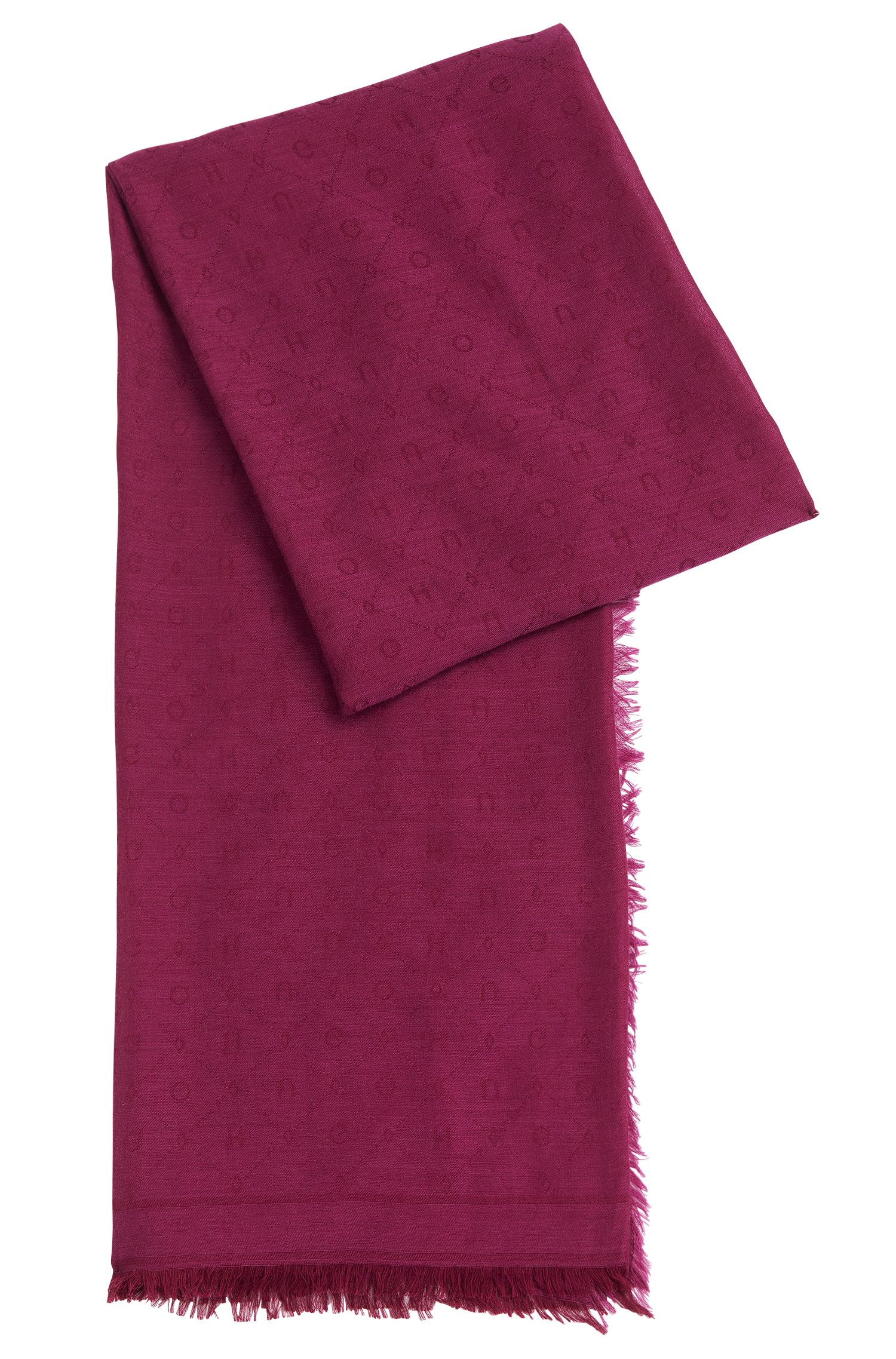 Jacquard scarf with tonal logo pattern