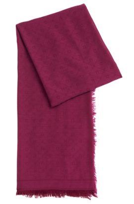 Jacquard scarf with tonal logo pattern, Purple