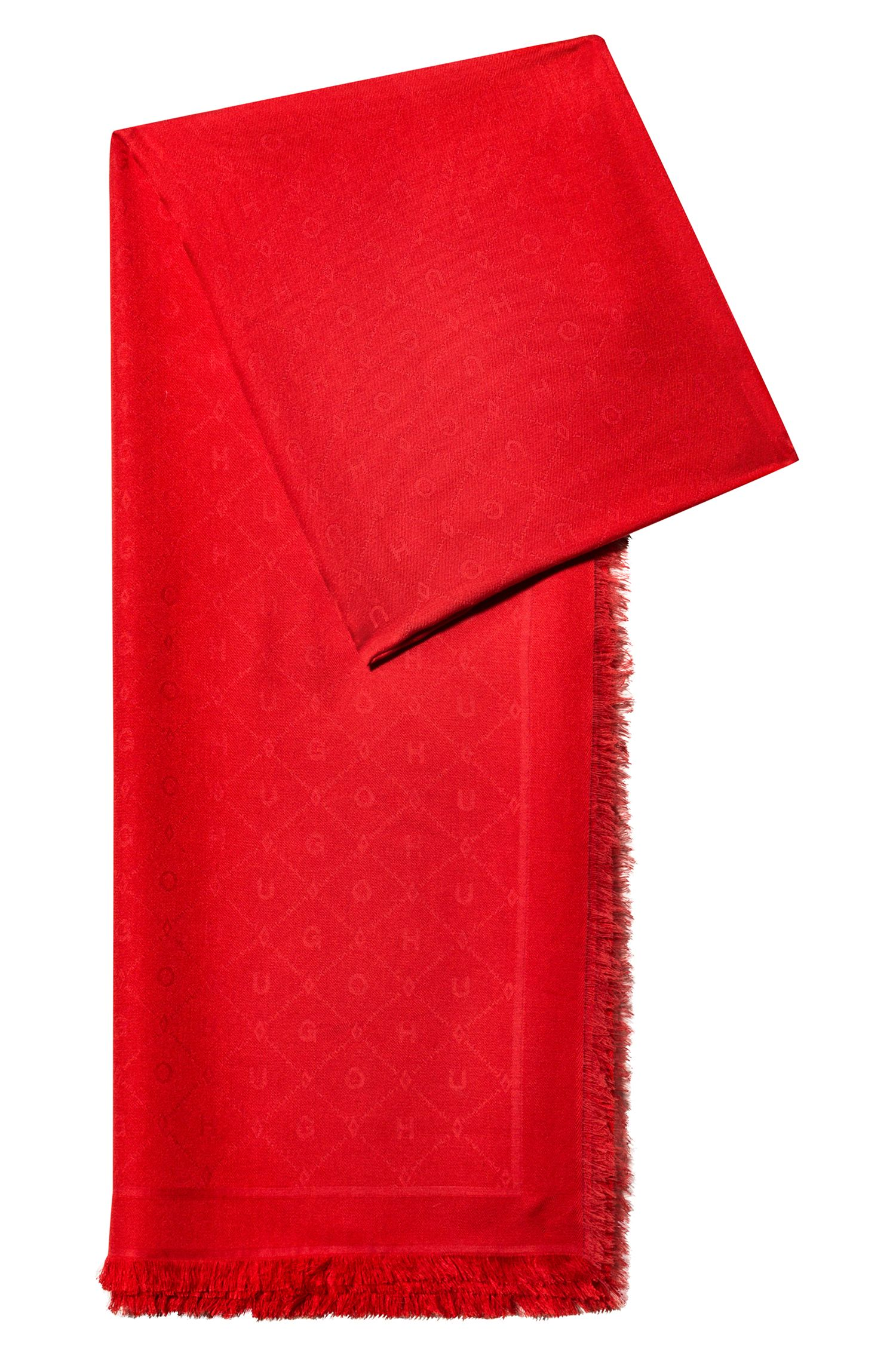 Jacquard scarf with tonal logo pattern, Red
